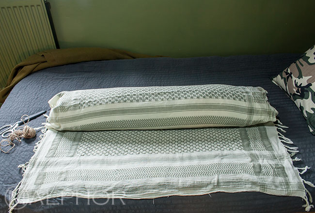 Roll bolster in scarf
