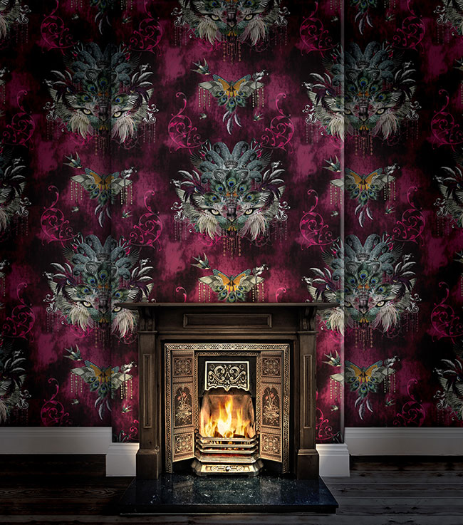 Madame Visage cranberry wallpaper